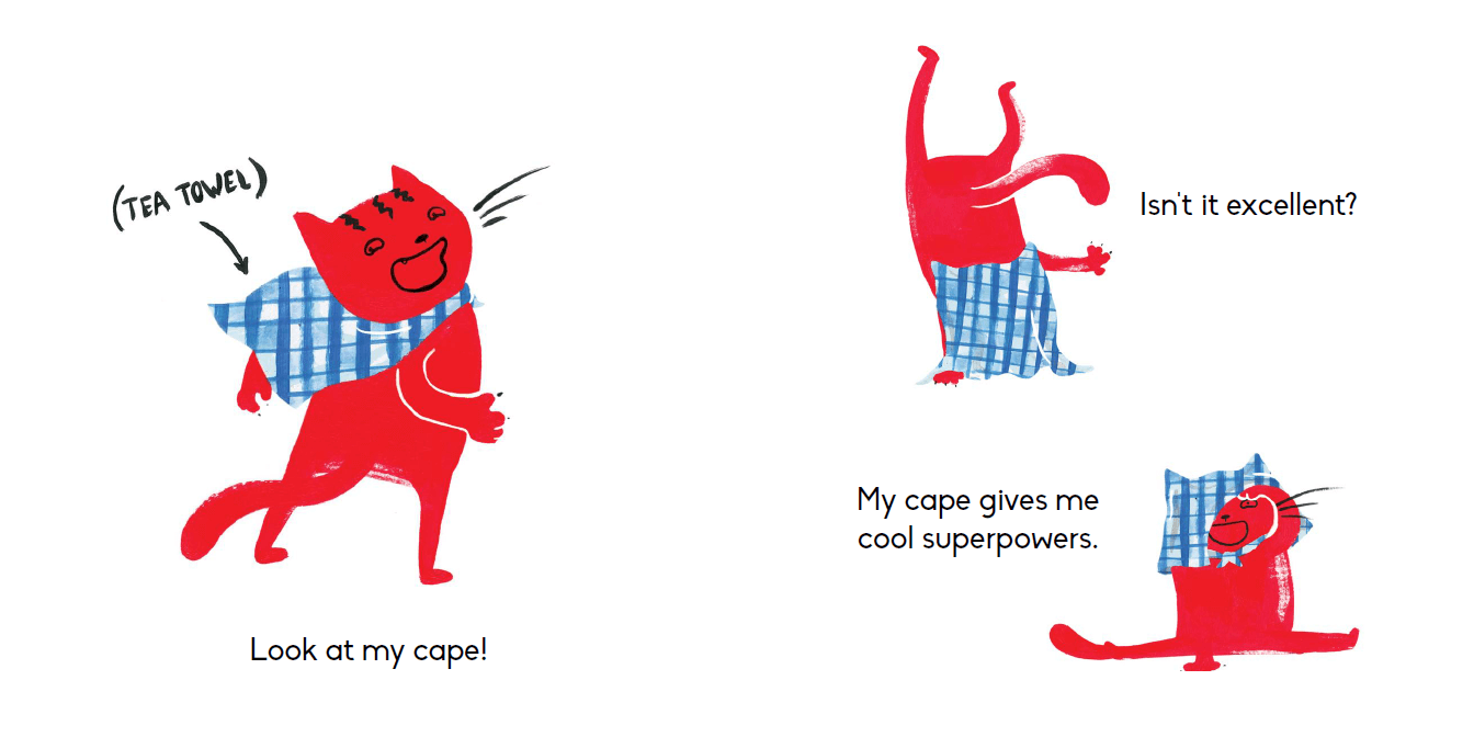 DOODLE CAT WEARS A CAPE spread 1 resized